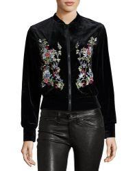 Hazel - Floral-embroidered Velvet Bomber Jacket - Lyst