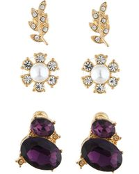 Lydell NYC - Mixed Crystal & Pearl Stud Earring Trio - Lyst
