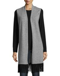 In Cashmere - Long Cashmere Vest With Suede Fringe Trim - Lyst