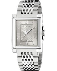 Gucci - G-timeless Rectangle Stainless Steel Bracelet Watch - Lyst