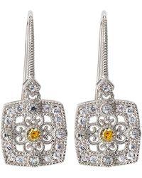 Judith Ripka - Square Crystal & Sapphire Filigree Drop Earrings - Lyst