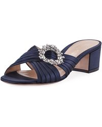 Gianvito Rossi - Satin Embellished Slide Sandals - Lyst