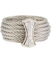 Alor - Classique Steel & 18k Diamond Micro Cable Ring Size 7 Silvertone - Lyst
