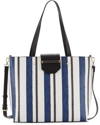 Neiman Marcus | Florence Snake-embossed Striped Tote Bag | Lyst