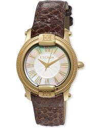 ESCADA - Madelene Gold Ip Watch W/ Embossed Leather Strap - Lyst