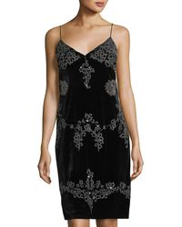 Romeo and Juliet Couture - Beaded & Embroidered Velvet Slip Dress - Lyst