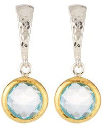 Gurhan - Small Wide Hoop Earrings W/ Blue Topaz Drop - Lyst