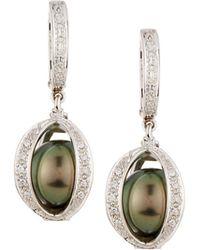Belpearl - 14k Diamond Pavé Caged Pearl Earrings - Lyst