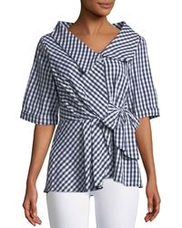 Philosophy | Half-sleeve Tie-front Gingham Blouse | Lyst