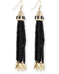 Lulu Frost - Beaded Black Tassel Drop Earrings - Lyst