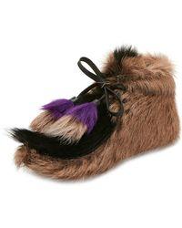 Prada - Fur Tassel Self-tie Boot - Lyst