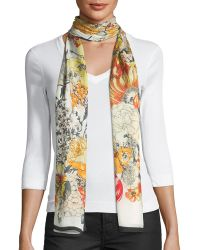 Max Studio - Illustrated Floral-print Oblong Scarf - Lyst
