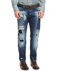 Kiton - Distressed Straight-leg Jeans - Lyst