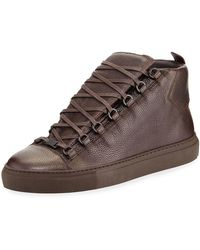 eb336301e59b6 Balenciaga - Men s Arena Leather High-top Sneakers - Lyst