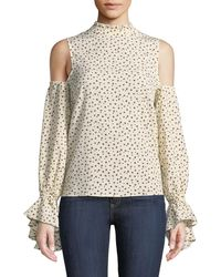 Bishop + Young - Cold-shoulder Ruffle-trim Blouse - Lyst