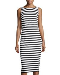 Carmen By Carmen Marc Valvo - Marina Striped Sheath Midi Dress - Lyst