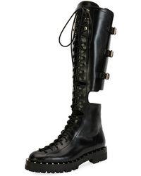 Valentino - Soul Rockstud Split Knee-high Boot - Lyst