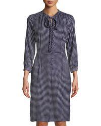 Tomas Maier - Crescent-print Tie-neck Shirtdress - Lyst