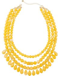 Lydell NYC - Multi-row Beaded Statement Necklace W/ Dangles - Lyst