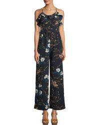 Glamorous - Floral-crepe Ruffled Camisole Jumpsuit - Lyst