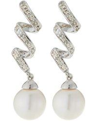 Belpearl - 14k White Gold Diamond Ribbon & Pearl Earrings - Lyst