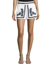 Romeo and Juliet Couture - Floral-embroidered Gauze Shorts - Lyst