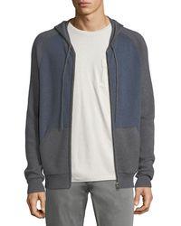 Neiman Marcus - Cashmere-cotton Colorblock Zip-front Baseball Hoodie - Lyst