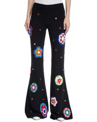 Moschino - Flower-patch Flare Leg Pants - Lyst