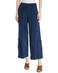 Leon Max - Wide-leg Basketweave Jeans W/ Large Pockets - Lyst