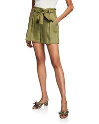 Neiman Marcus - Paperbag Pleated Tie-waist Linen Shorts - Lyst