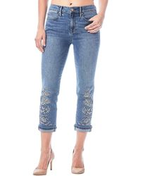 Nicole Miller - High-rise Embroidered Straight Ankle Jeans - Lyst
