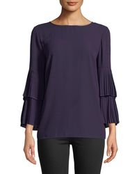 Carmen By Carmen Marc Valvo - Tiered Pleated Bell-sleeve Blouse - Lyst