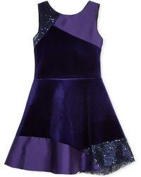Zoe - Velvet Colorblock Sleeveless Dress - Lyst