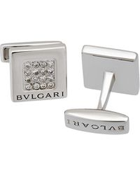 BVLGARI - 18k White Gold Diamond Square Cuff Links - Lyst