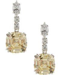 Fantasia by Deserio - Asscher-cut Canary Crystal Drop Earrings - Lyst