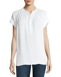 Vince   Shirred-neck Short-sleeve Silk Top   Lyst