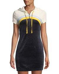 Juicy Couture - Hooded Colorblocked Velour Mini Dress - Lyst