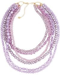 Lydell NYC - Multi-row Crystal Bead Necklace - Lyst