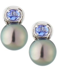 Belpearl - 14k Tanzanite & Tahitian Pearl Drop Earrings - Lyst
