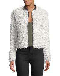 Love Token - Shaggy Faux Fur Jacket W/ Vegan Leather Collar - Lyst