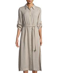T Tahari - Button-down Collared Dress W/ Self-tie Waist - Lyst