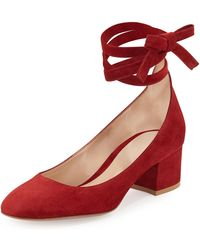 Gianvito Rossi - Petra Suede Ankle-wrap 45mm Pump - Lyst