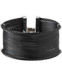 Alor - Noir Wide Steel & 18k Cuff Bracelet - Lyst