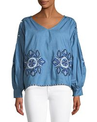 ee8344bff914d Haute Rogue - Livia Embroidered Peasant Blouse - Lyst