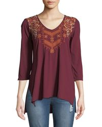 Johnny Was Ellim 3/4-sleeve Embroidered Drape Knit Top