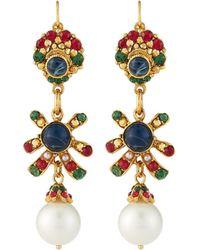Jose & Maria Barrera - Linear Crystal & Pearly Drop Earrings - Lyst