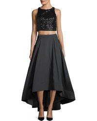 Aidan Mattox - Two-piece Sequin Crop Top & Taffeta Ball Skirt - Lyst
