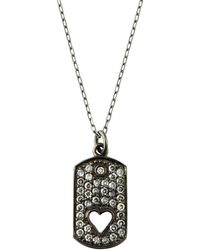 Sydney Evan - 14k Black Gold Diamond Dog Tag Heart Necklace - Lyst