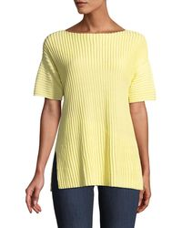 Lafayette 148 New York - Pleated-stitch Short-sleeve Sweater - Lyst