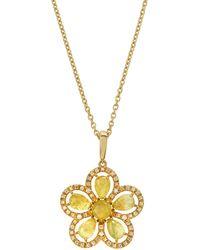 Roberto Coin - 18k Margherita Daisy Diamond & Sapphire Necklace - Lyst